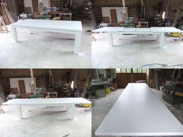 Table se salle à manger laqué blanc de 10 à 16 couverts