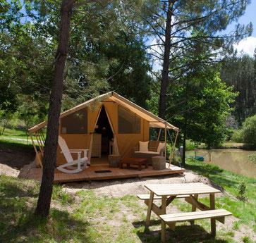 glamping in dordogne camping etang de bazange