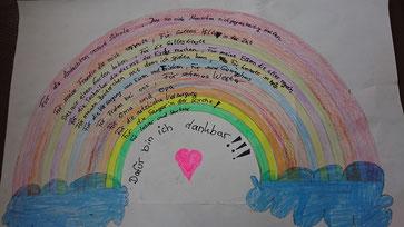 Wofür können wir Gott danken? Dazu ein tolles Bild einer Schülerin der 4. Klasse