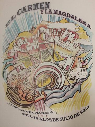Cartel de las Fiestas de la Descarga y la Magdalena 2015 en Cangas del Narcea