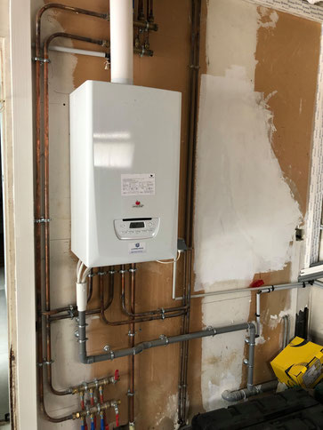 Chaudière condensation Le RHEU Rennes création de radiateur, nourrice chauffage alimentation gaz du logement