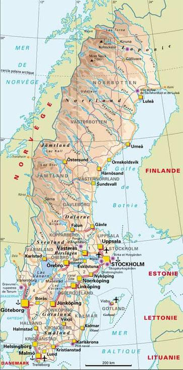 Suède carte le routard