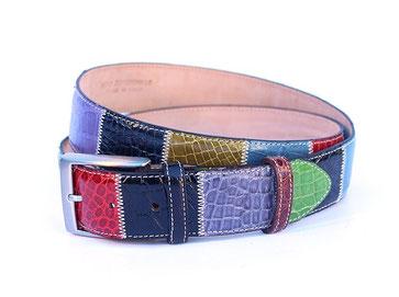 cintura pelle coccodrillo patchwork