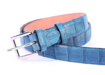 cintura pelle coccodrillo azzurra