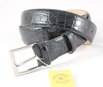 cintura pelle coccodrillo nera