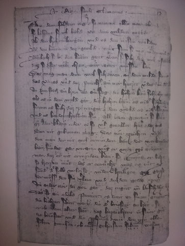 Originalblatt des Münchener Gedichtes von den 15 Zeichen vor dem Jüngsten Tag (14. Jhd., Bayrische Staatsbibliothek München)