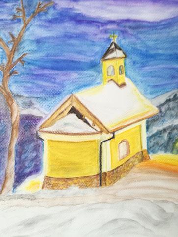 Kapelle der Seligpreißung Berchtesgaden  Aquarellstifte  Aquarellpapier A4