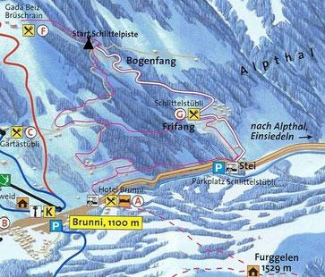Übersichtskarte Karte Schlittelstübli Schlittelpiste Schlittelweg Alpthal Einsiedeln