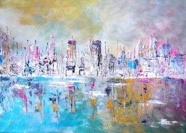 Galamos Rita- Big City's lighst Mixed media Acrylic on canvas  dekoration painting Feldkirch  Malerin Vorarlberg Ungarische Designerin  Hungarian Painting