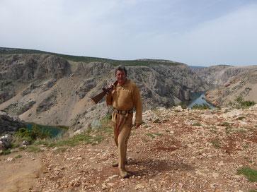 Herbert mit dem Henry Stutzen am Zrmanja Plateau