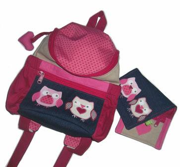 Kinderrucksack und Geldbörse mit Eulen für Mädchen