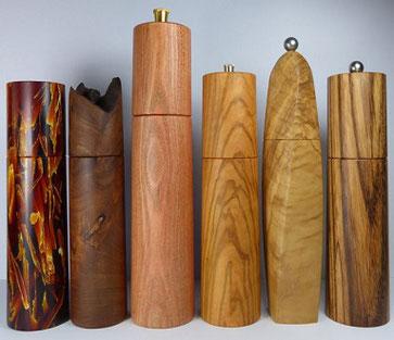 Gewürzmühlen aus Holz gedrechselt
