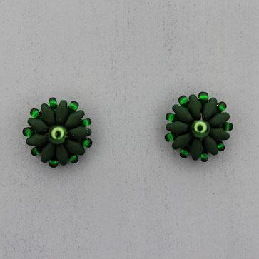 Ohrringe matt tannengrün Duo Rocailles