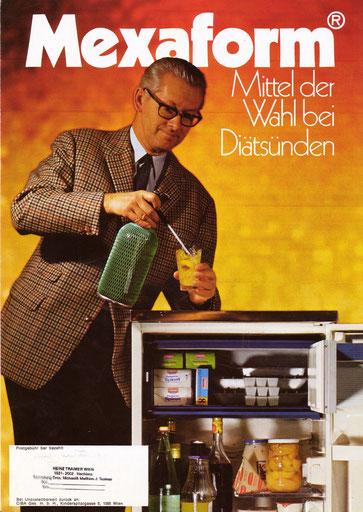 Mexaform Ciba Werbung 1971. Mann an einem vollen Kühlschrank stehend.