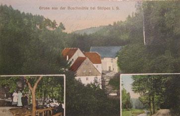 Bild:Teichler Seeligstadt Sachsen  Buschmühle bei Stolpen Alte Postkarte