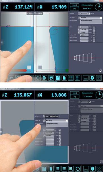 Vista específica del usuario de los cuadros de diálogo de la pantalla.