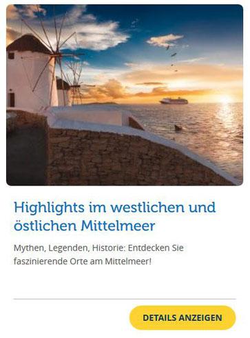 günstige Kreuzfahrten im Mittelmeer Costa Angebot der Woche Griechenland Deals