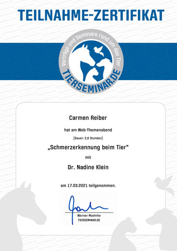 Teilnahme Zertifikat Schmerzerkennung beim Tier