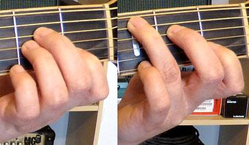 Die Akkorde A-Moll und C-Dur in der Nahaufnahme des Griffbretts.