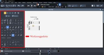 Werkzeugpalette in Guitar Pro 7.5