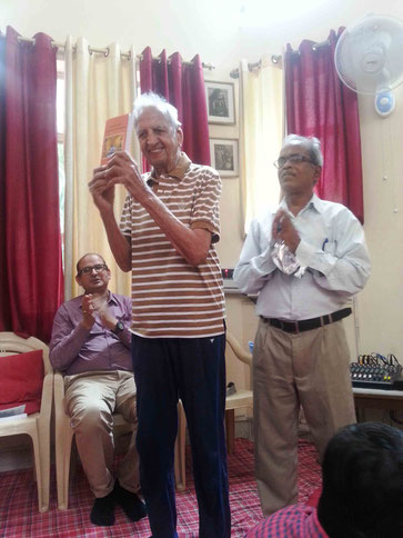 BOOK RELEASE SEMBLANCE EPISODE AT THE DELHI CENTRE, INDIA  - 31-7-2016 ; The book was released by Sh.Shiv Datt Lalit (Roorki) at Delhi centre on 31st July 2016. In the background Sh. Lalit is seen on left and author B. Kumar standing right.