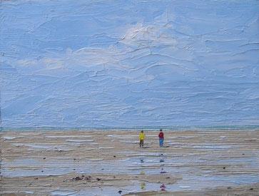Strandspaziergang bei Ebbe (Öl auf Leinwand, 12 x 16 cm, verkauft)