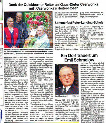 Artikel in der Quickborner Umschau vom 17.06.2015
