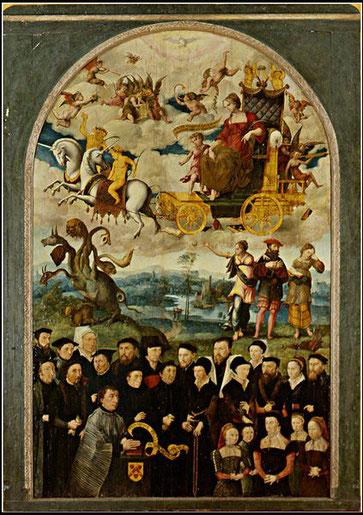 Augustin Cousin, Puy d'Amiens  Triumphe exquis au chevalier fidèle  Huile sur bois, Picardie, Amiens, 1548   Photo Musée de Picardie