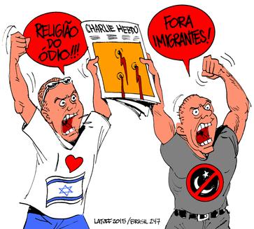"""Links: """"Religion des Hasses!!!"""" / Rechts: """"Ausländer raus!"""""""
