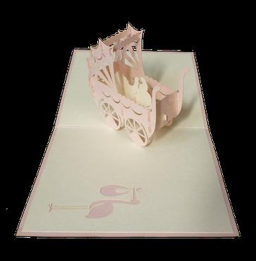 Carte Pop-Up 3D Poussette rose