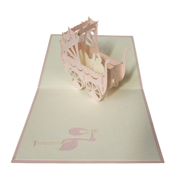 Carte Pop-Up 3D Poussette rose
