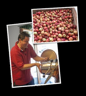 Edgar Wernbacher füllt Äpfel in den Brennkessel