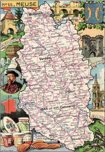 Recto d'une carte postale timbrée envoyée depuis la Meuse