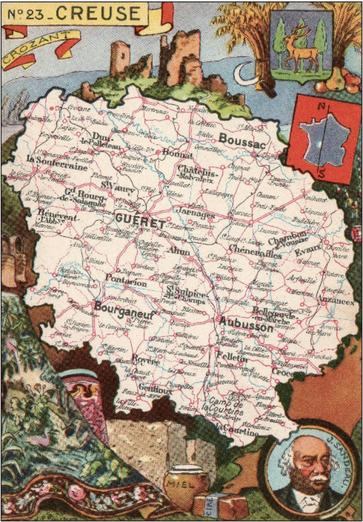Recto d'une carte postale timbrée envoyée depuis la Creuse