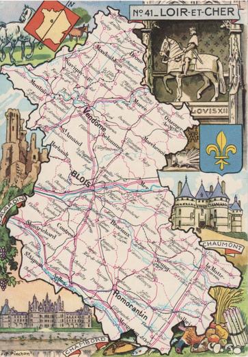 Recto d'une carte postale timbrée envoyée depuis le Loir-et-Cher