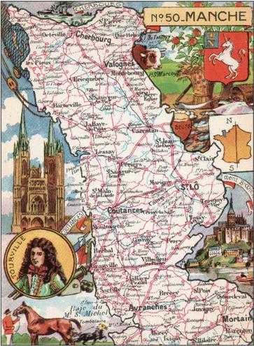 Recto d'une carte postale timbrée envoyée depuis la Manche