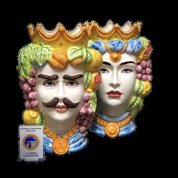 Coppia di teste di moro primavera  ceramica di Caltagirone - Caltagirone-Keramik