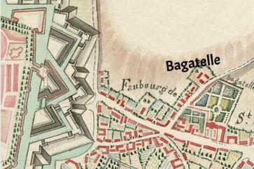 Plan des fortifications d'Abbeville et des faubourgs, fin XVIIIe, détail / Abbeville, Bibliothèque municipale