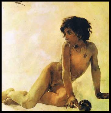 Lienzo de juventud, del pintor  Sorolla.