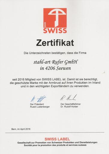 swiss label - Auszeichung von stahl-art Rufer