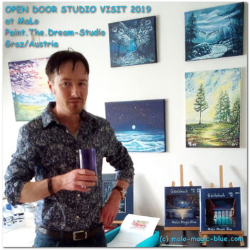 Künstler Mario Lorenz in seinem Atelier am Tag der offenen Tür 2019.