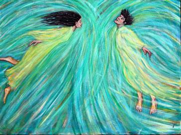 Ein Liebespaar (Frau und Mann) fliegt wie im Traum aufeinander zu.