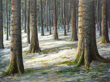Spätwinter im Fichtenaltholz - Gemälde Acryl auf Holzfaserplatte