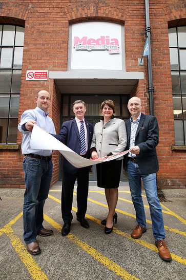 First Minister, Arlene Foster MLA, officially opens Media Marketing / Media Design and Print's newly extended premises. Also pictured (L-R) Michael Beckinsale, Harry Beckinsale and Harold Beckinsale.