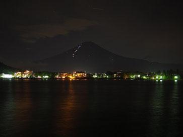 河口湖、富士山、夜景、山梨