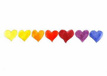 Grußkarte Herzen Regenbogen