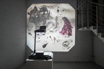 Danilo Bucchi, Illusion, tecnica mista su lavagna luminosa, 2016