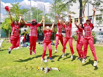 Swiss ladies jumping for joy