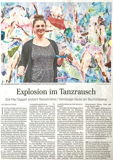 """Artikel in der Hildesheimer Allgemeinen Zeitung """"Explosion im Tanzrausch - Zoë MacTaggart erobert Rasselmania"""" vom 2. Mai 2019"""
