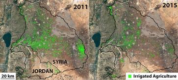 Tierras de labranza en la cuenca del río Yarmuk entre 2011 y 2015 /  ©2016 TerraMetrics, Map data ©2016 Google